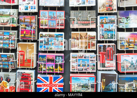 Tourist postcards for sale, London, UK - Stock Photo