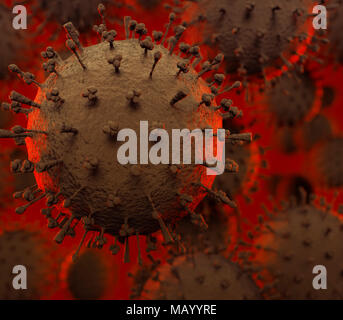 Flu virus H1N1, H5N1, influenza A virus particles, virions under a microscope. Medical 3D illustration of a spreading virus - Stock Photo