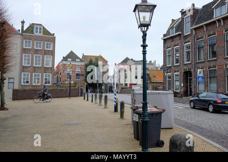 Old canal houses in Dordrecht, Netherlands - Stock Photo