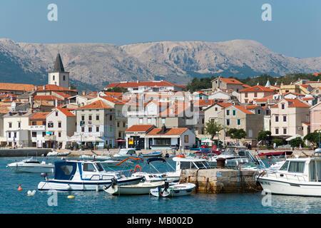 Port, Baska, Island Krk, Kvarner Gulf Bay, Croatia - Stock Photo