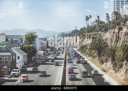 LOS ANGELES, CA, USA. SEPTEMBER 23, 2016. Street view in Santa monica. . The city is named after the Christian saint Monica - Stock Photo