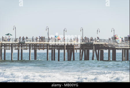 LOS ANGELES, CA, USA. SEPTEMBER 23, 2016. Pier in Santa monica. The city is named after the Christian saint Monica - Stock Photo