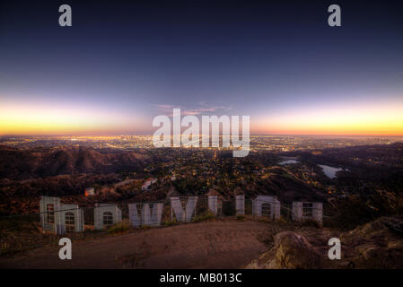 LOS ANGELES,CA, USA. September 25th,2016. The Hollywood sign. 'HOLLYWOOD' is spelled out in 45-foot tall capital letters and is 350 feet long. - Stock Photo