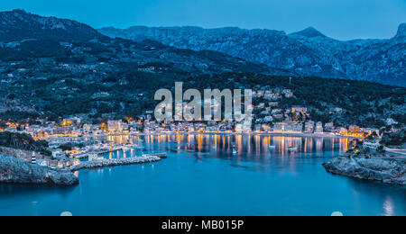 Panoramic Aerial View of Port de Soller in Majorca - Stock Photo