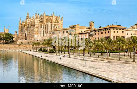 The Cathedral La Seu in Palma de Mallorca - Stock Photo