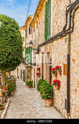 Impression of Valldemossa in the Tramuntana Mountains in Majorca - Stock Photo