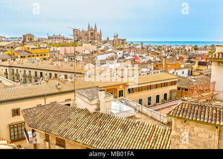 The Cathedral La Seu in Palma de Mallorca - Stock Photo