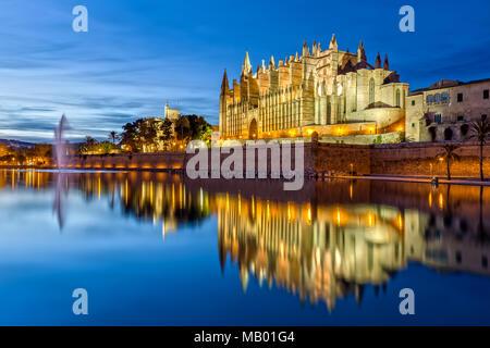 The Cathedral La Seu at Night in Palma de Mallorca - Stock Photo