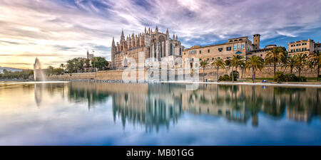 The Cathedral La Seu at Sunset in Palma de Mallorca - Stock Photo