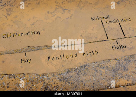 CAITHNESS, UK:  An engraving showing a map of the Pentland Firth. - Stock Photo