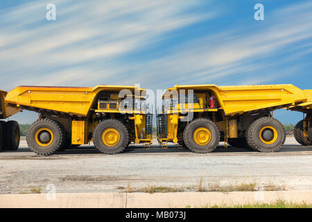 Coal mining truck on parking rod., Super dump truck. - Stock Photo