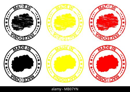 Made in Macedonia - rubber stamp - vector, Macedonia map pattern - black,yellow and red - Stock Photo