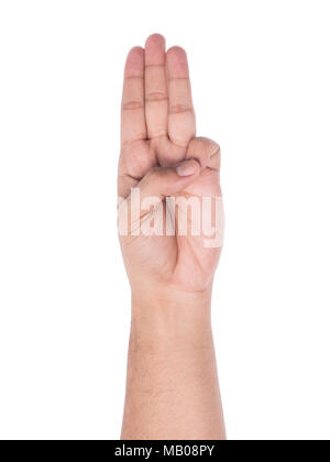 Hand gesturing three finger salute isolated on white background with clipping path. - Stock Photo