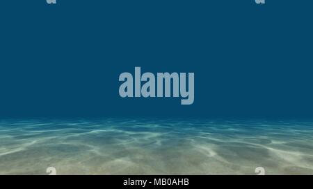 Caustics at the bottom of the sea 3D render - Stock Photo