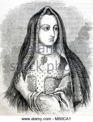 As the wife of Henry VII, Elizabeth of York 1466 – 1503, was queen consort of England from 1486 until her death, antique illustration from circa 1860 - Stock Photo