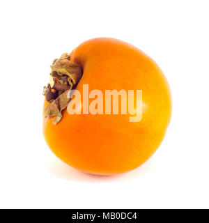 Two ripe persimmon fruits isolated on a white background. - Stock Photo