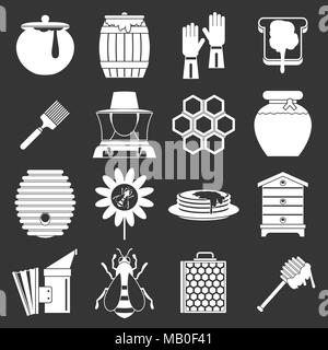 Apiary tools icons set grey vector - Stock Photo