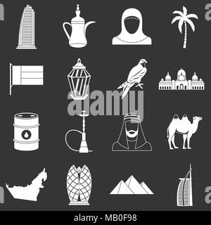 UAE travel icons set grey vector - Stock Photo