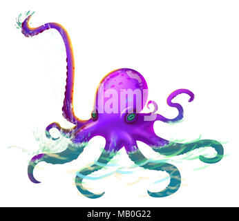 The Giant Octopus Tentacles with Fantastic, Realistic and Futuristic Style. Video Game Digital CG Artwork, Concept Illustration, Realistic Cartoon - Stock Photo