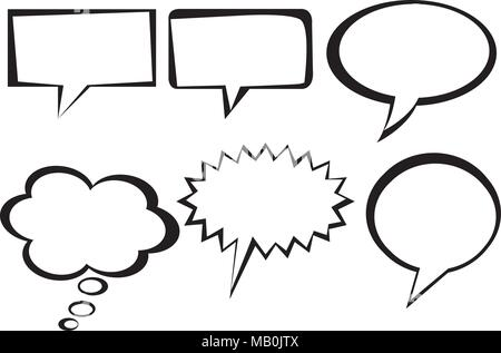 Speech bubbles and sales sticker collection isolated in clean line - Stock Photo