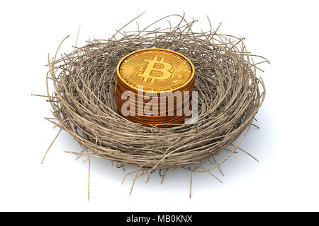 Retirement account concept funded with bitcoin or cryptocurrency. Similar to retirement nest egg but focusing on blockchain coins like bitcoin. - Stock Photo