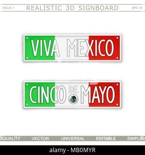 Viva Mexico. Cinco De Mayo. Stylized car license plate. Top view. Vector design elements - Stock Photo