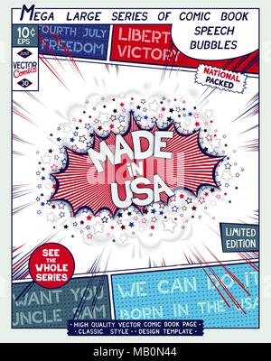 Made in USA. Poster design in style of comics book. Speech bubble with speed lines and 3D explosion. Vector illustration - Stock Photo