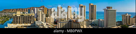 Panoramic view of buildings in Waikiki city Honolulu - Stock Photo