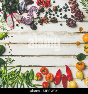 Flat-lay of fresh fruit, vegetables, greens and superfoods, square crop - Stock Photo