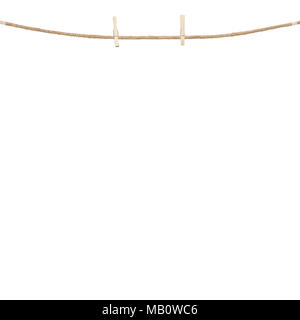 Wood clothespins hanging on rope on a plain white background - Stock Photo
