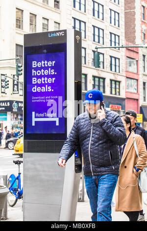 NEW YORK CITY - MARCH 29, 2018: LinkNYC Wi-fi kiosk on the street in New York City in midtown Manhattan. - Stock Photo