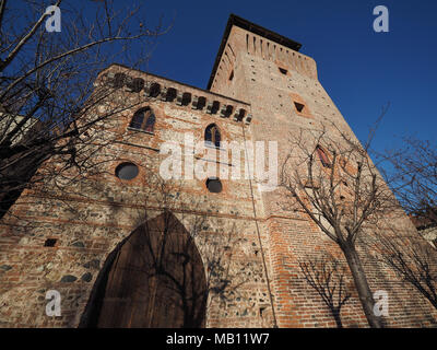 SETTIMO TORINESE, ITALY - CIRCA JANUARY 2018: Torre Medievale medieval tower and castle - Stock Photo