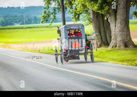 Gordonville, PA, USA - June 17, 2012: Young Amish children look out the rear window of a buggy on a rural road in the summer in Lancaster County, PA. - Stock Photo