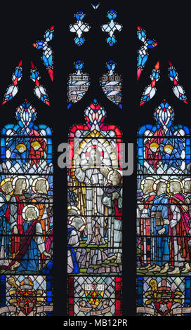 The Bardsley Memorial window 'The Great Commission' by Veronica Whall (1937), Leicester Cathedral - Stock Photo
