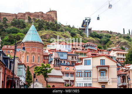 Traditional wooden carving balconies of Old Town of Tbilisi, Republic of Georgia. - Stock Photo