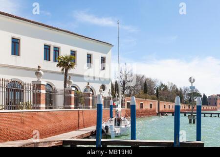 San Servolo Island, (Isola di San Servolo, Island of the Mad)  Venice, Veneto, Italy housing the Venice International University and the Insane Asylum - Stock Photo