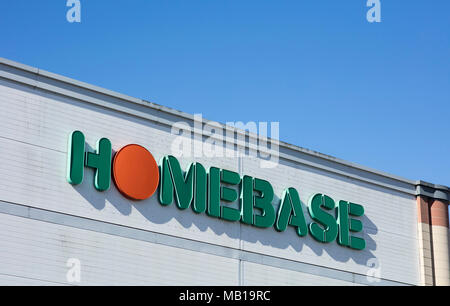 Homebase sign and logo, St Marks Retail Park, Lincoln, Lincolnshire, UK - 5th April 2018 - Stock Photo