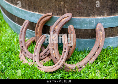 A collection of old word rusty Lucky Horse Shoes leaning against a wooden barrel standing on grass - Stock Photo