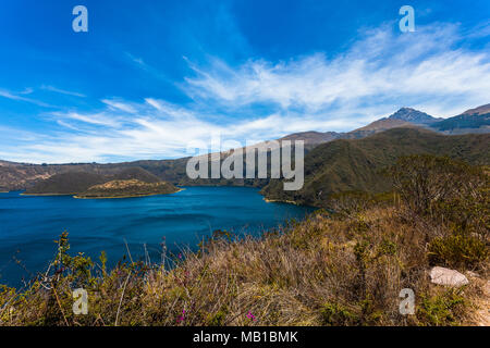 Cuicocha lagoon inside the crater of the volcano Cotacachi - Stock Photo