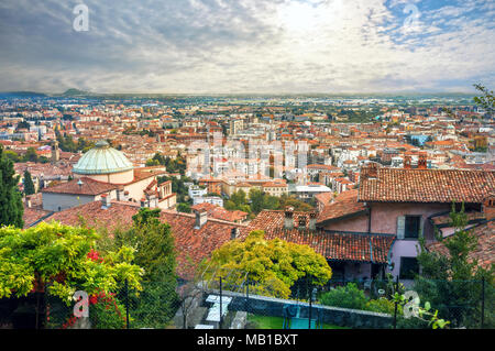 Top view of Bergamo lower town. Italy - Stock Photo