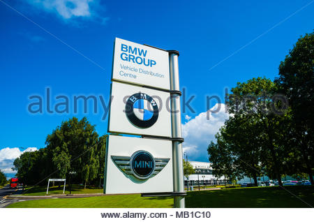 BMW Group UK Ltd Group Vehicle Distribution Centre entrance sign for Mini & BMW in Thorne, Hatfield Near Doncaster, England UK - Stock Photo