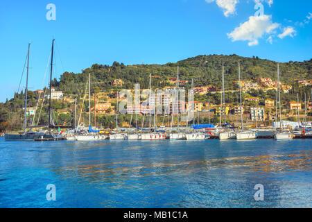 Waterfront of Porto Santo Stefano harbor. Monte Argentario, Tuscany, Italy - Stock Photo