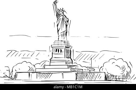 Cartoon Sketch of the Statue of Liberty, New York, United States - Stock Photo