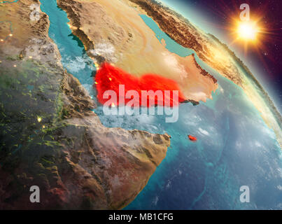 Sunrise above Yemen highlighted in red on model of planet Earth in space. 3D illustration. Elements of this image furnished by NASA. - Stock Photo