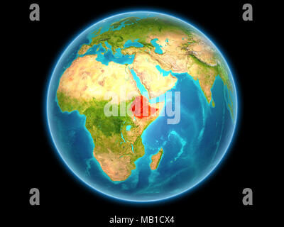 Ethiopia in red on planet Earth as seen from space on full sphere. 3D illustration. Elements of this image furnished by NASA. - Stock Photo