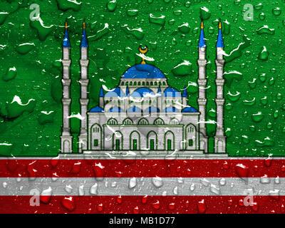 flag of Grozny with rain drops - Stock Photo