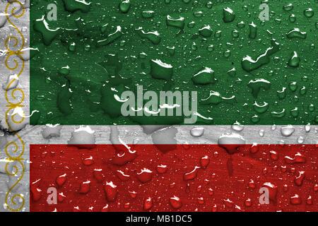 flag of Chechnya with rain drops - Stock Photo