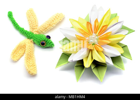 Crochet Dragonfly And Water Lily Made Of Paper Origami On White Isolated Background