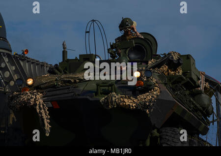 180402-N-AH771-0066 U.S. 5TH FLEET AREA OF OPERATIONS (April 2, 2018) U.S. Marines assigned to the 26th Marine Expeditionary Unit prepare to drive a light armored vehicle off of a landing craft, air cushion, assigned to Assault Craft Unit (ACU) 4 during Alligator Dagger. Led by Naval Amphibious Force, Task Force 51/5th Marine Expeditionary Expedition Brigade, Alligator Dagger integrates U.S. Navy and Marine Corps assets to practice and rehearse a range of critical combat-related capabilities available to U.S. Central Command both afloat and ashore to promote stability and security in the regio - Stock Photo