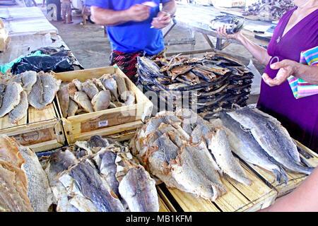 Dry fish, free market, Belem, Paraiba, Brazil - Stock Photo
